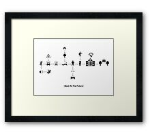 Back To The Future Pictogram Story  Framed Print