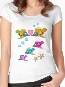 Cute Fish in Love, vector design Women's Fitted Scoop T-Shirt