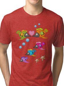 Cute Fish in Love, vector design Tri-blend T-Shirt