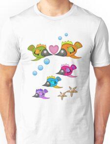 Cute Fish in Love, vector design Unisex T-Shirt