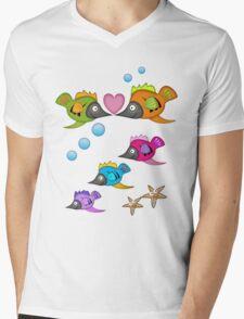 Cute Fish in Love, vector design Mens V-Neck T-Shirt