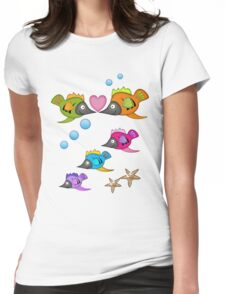 Cute Fish in Love, vector design Womens Fitted T-Shirt