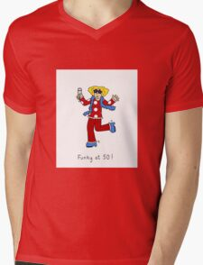 Funky at 50, woman in retro 70's outfit. Mens V-Neck T-Shirt