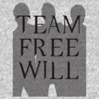 Supernatural Team Free Will Black Silhouette (Sam, Dean & Castiel)  minimalist t-shirt/sticker by Hrern1313