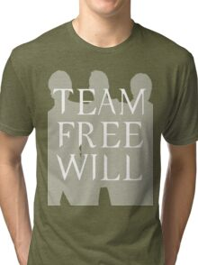 Supernatural Team Free Will White Silhouette (Sam, Dean & Castiel) minimalist t-shirt/sticker Tri-blend T-Shirt