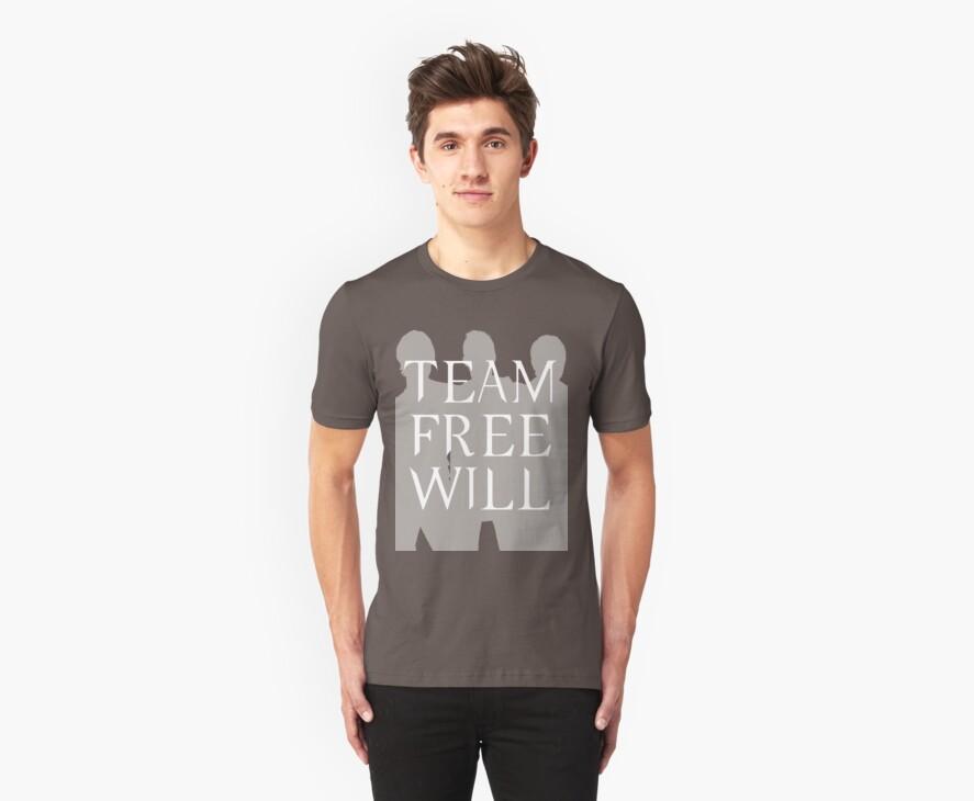 Supernatural Team Free Will White Silhouette (Sam, Dean & Castiel) minimalist t-shirt/sticker by Hrern1313