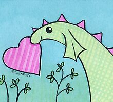 Green Dragon with Pink Valentine's Day Love Heart by zoel