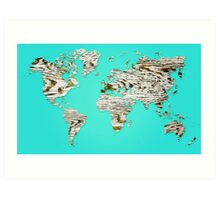 Turquoise Map of The World - World Map for your walls Art Print