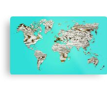Turquoise Map of The World - World Map for your walls Metal Print