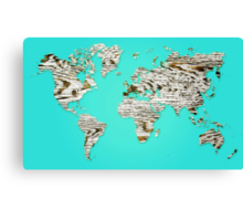 Turquoise Map of The World - World Map for your walls Canvas Print