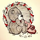 Impatient Valentine Bear by Lenora Brown
