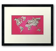 Pink Map of The World - World Map for your walls Framed Print