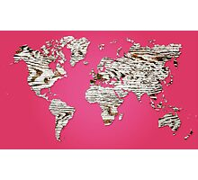 Pink Map of The World - World Map for your walls Photographic Print