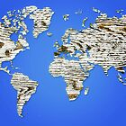 Blue Map of The World - World Map for your walls by DejaVuStudio