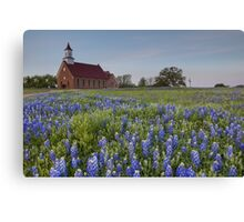 Texas Bluebonnets in front of a Church Canvas Print