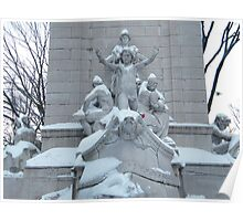 Statue in Snow, Columbus Circle, New York City Poster
