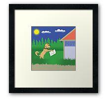 dog and letter Framed Print