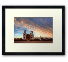 Majestic Sunset Mission San Xavier Del Bac Framed Print