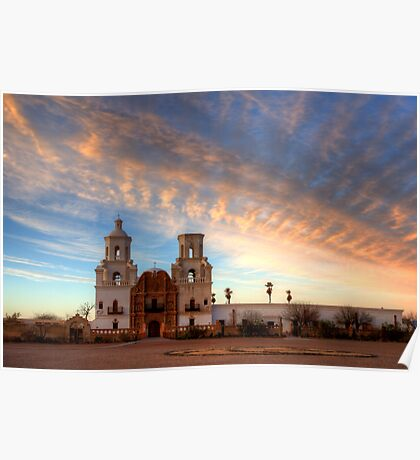 Majestic Sunset Mission San Xavier Del Bac Poster