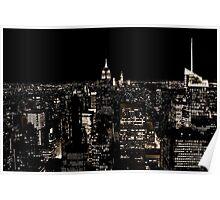 New York City Skyline at Night Poster