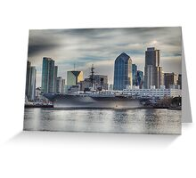 USS Midway Museum and San Diego Skyline Greeting Card