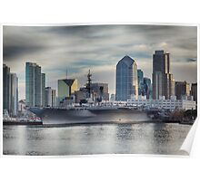 USS Midway Museum and San Diego Skyline Poster