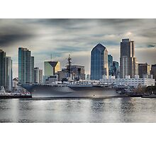 USS Midway Museum and San Diego Skyline Photographic Print