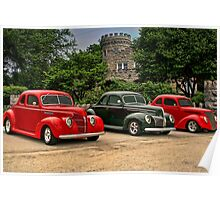 "1937-38-39 Ford Coupes ""Three of a Kind"" Poster"