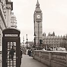 Telephone Booth & Big Ben B&W by Gisele  Morgan