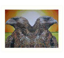 Twin Eagles, 2000 (colour pencil) Art Print