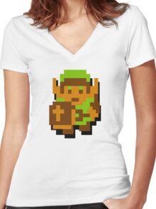 Zelda Link 8-bit Nintendo Women's Fitted V-Neck T-Shirt