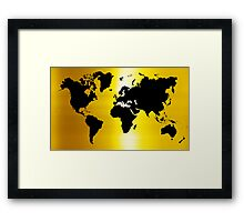 Gold And Black Map of The World - World Map for your walls Framed Print