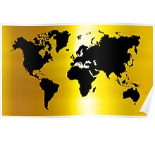 Gold And Black Map of The World - World Map for your walls Poster
