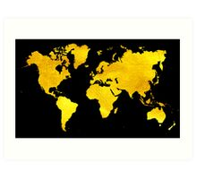Black and Gold Map of The World - World Map for your walls Art Print
