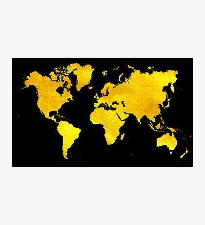 Black and Gold Map of The World - World Map for your walls Photographic Print