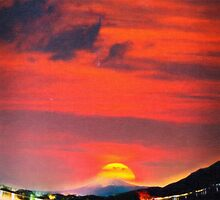 sunset at mystical mount fuji japan art by Adam Asar