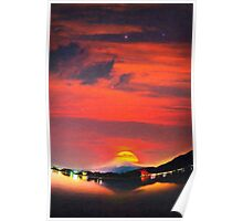sunset at mystical mount fuji japan art Poster