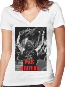 Team War Beaver Women's Fitted V-Neck T-Shirt