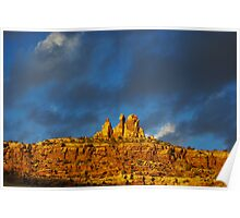 Last sunlight on rock walls, Utah Poster