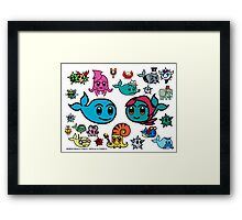 Mobius Whale and Secily - Cute Characters ! Framed Print
