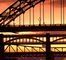 Sunset Through The Bridges at Newcastle by Great North Views
