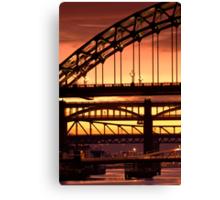 Sunset Through The Bridges at Newcastle Canvas Print