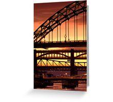 Sunset Through The Bridges at Newcastle Greeting Card