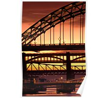 Sunset Through The Bridges at Newcastle Poster