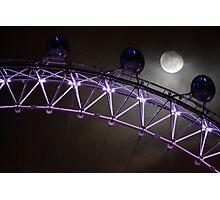 London Eye and Moon Photographic Print