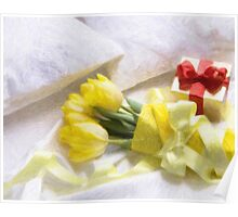 valentine yellow roses Poster