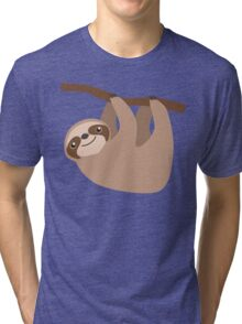 Cute Sloth on a Branch Tri-blend T-Shirt