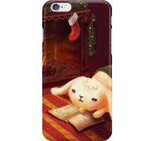Chubby bunny by the fireplace iPhone Case/Skin