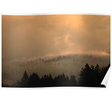 Sunrise Through The Foggy Land Poster