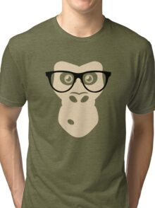 Nerd Ape with glasses Tri-blend T-Shirt